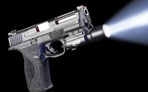 Картинка свет, пистолет, фон, луч, фонарик, Smith & Wesson, Springfield, M&P, ATEi