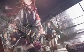 Картинка гитара, юбка, голубые глаза, vocaloid, hatsune miku, megurine luka, kagamine rin, школьная форма, длинные волосы, …