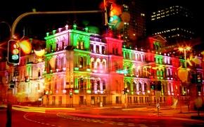 Картинка ночь, движение, выдержка, Австралия, night, Australian, Брисбен, Brisbane, exposure