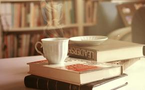 Картинка книги, блюдце, кружка, пар, чашка