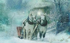 Картинка зима, снег, кони, текстура, лошади, арт, сани