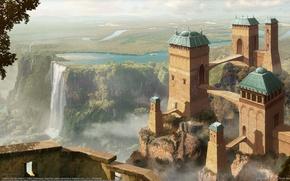 Картинка деревья, пейзаж, горы, город, река, замок, ландшафт, водопад, долина, фэнтези, арт, башни, fantasy, river, trees, ...