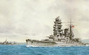 Картинка корабль, арт, флот, военный, линкор, японский, battleship, WW2, Nagato, IJN