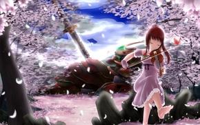 Картинка небо, девушка, облака, оружие, скрипка, робот, меч, аниме, лепестки, сакура, арт, оригами, pinguin-kotak