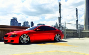 Картинка BMW, red, wheels, vossen