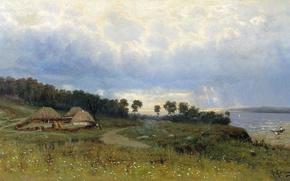 Картинка деревья, Константин, Крыжицкий, избушки, Перед дождем, Яковлевич