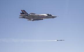 Обои небо, цель, ракета, Martin, самолёт, американский, Lockheed, малозаметный, истребитель-бомбардировщик, F-35, перспективный, пятого поколения, «Лайтнинг» II, ...