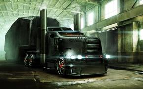 Картинка арт, ангар, броня, трейлер, тягач, Scania