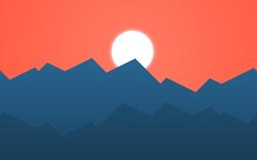 Картинка закат, горы, фон, минимализм, вектор