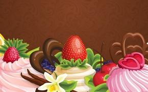 Обои цветы, абстракция, ягоды, сладость, шоколад, пирожное, фрукты, крем, flowers, chocolate, abstraction, fruits, cream, cakes, sweets, ...