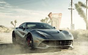 Обои ferrari, f12, berlinetta, car, sportcar, dust, автомобиль