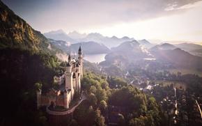 Картинка небо, горы, замок, Германия, долина