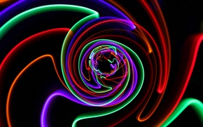 Обои свет, цвет, лучи, огни, трасса, спираль