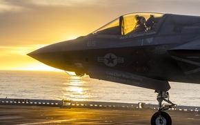 Обои пилот, кабина, F-35B, рассвет, истребитель