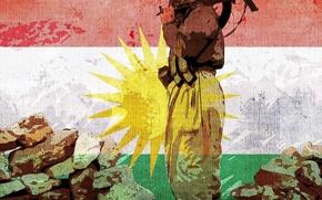 Картинка обои, Флаг, Курдистан, Флаг Курдистана