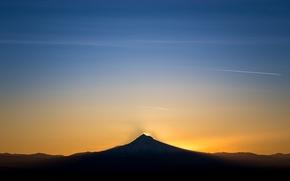 Картинка пейзаж, гора, силуэт, Oregon, Portland, Rocky Butte