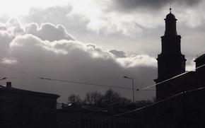 Картинка Город, Церковь, Тучи, City, Латвия, Church, Лиепая, Liepaja, Latvija