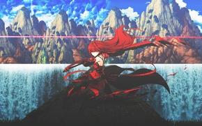 Обои оружие, горы, арт, природа, аниме, девушка, dinocojv, меч