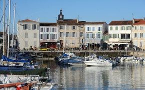 Картинка France, Harbor, boats, Ile de Ré, Charente Maritime, La Flotte en Ré