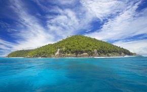 Картинка море, небо, облака, деревья, пейзаж, синий, океан, остров, островок
