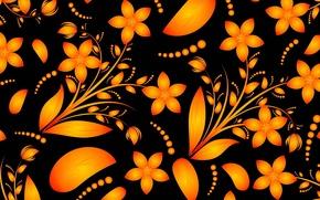 Картинка листья, цветы, текстура, открытка