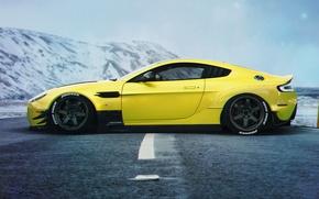 Обои Car, Stance, Aston Martin, Yellow, Vanquish, Side, Sport