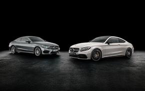 Обои купе, Mercedes-Benz, черный фон, мерседес, Coupe, C-Class, C205