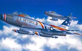 Картинка war, art, airplane, aviation, jet, North American F-86 Sabre