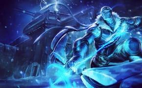 Обои холод, снег, буря, League of Legends, Arrow of Retribution, artic ops, varus