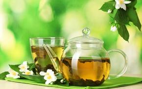 Картинка цветы, чай, чашка, напиток, блюдце, листики, заварник