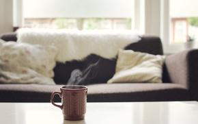 Обои living room, sofa, tea, mug, vintage mug