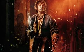 Картинка золото, огонь, меч, пещера, монеты, сокровища, хоббит, Хоббит, The Hobbit, Martin Freeman, Мартин Фримен, hobbit, ...