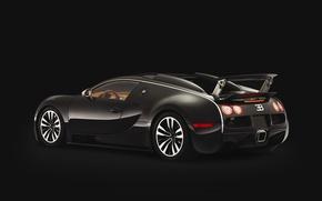 Обои черный, Veyron, bugatti, спойлер