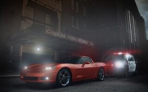 Обои chevrolet, corvette, muscle, car, orange, ligth, police