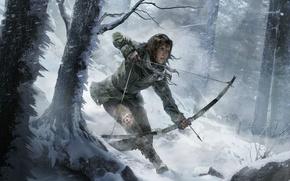 Картинка Зима, Девушка, Деревья, Снег, Лук, Лара Крофт, Арт, Lara Croft, Стрела, Rise of the: Tomb …