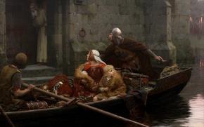Картинка река, замок, женщина, лодка, картина, мальчик, старик, рыцарь, river, ребёнок, woman, boy, baby, castle, Middle …