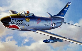 "Картинка art, airplane, painting, aviation, jet, F-86D sabre dog ""shark teeth"