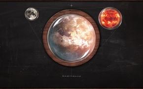 Картинка солнце, земля, луна, графика, рендер