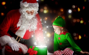 Картинка красный, зеленый, эмоции, праздник, подарок, волшебство, эльф, новый год, рождество, костюм, девочка, Санта Клаус, Дед …