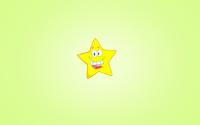 Обои улыбка, звезда, минимализм, светлый фон, желтая