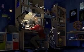 Обои ночь, комната, книги, сон, аниме, арт, парень, телескоп, беспорядок, anime, art