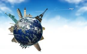 Картинка небо, облака, путешествия, планета, шар, Земля, Сфинкс, Эйфелева башня, Статуя Свободы, самолёт, туризм, Earth, Биг …