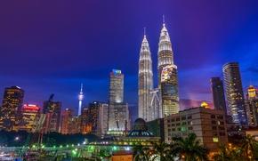 Картинка ночь, небоскрёбы, мегаполис, Малайзия, Куала-Лумпур