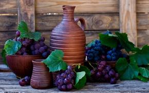 Картинка листья, ягоды, стена, вино, доски, виноград, кувшин, грозди