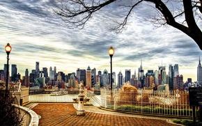 Картинка city, river, bridge, New York, central park