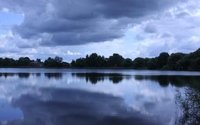 Картинка небо, пейзаж, природа, озеро, фон, обои, красота