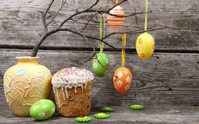 Обои ветка, Пасха, Яйца, ваза, Праздник, Кулич, Easter, крашенки, Выпечка