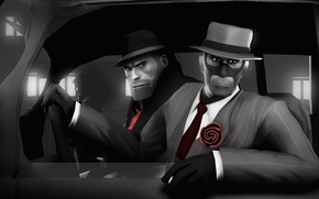 Картинка шпион, Team Fortress 2, spy, heavy, noire