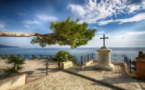 Картинка tree, statue, The sea, a patio