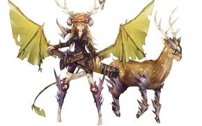 Картинка девушка, оружие, животное, крылья, аниме, олень, арт, рога, броня, sinlaire